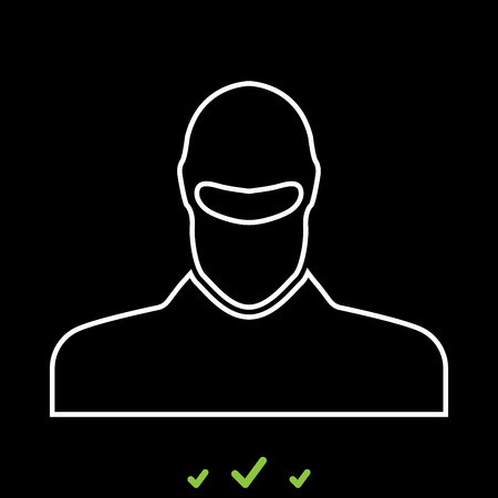 Man in balaclava or pasamontanas it is white icon . Flat style