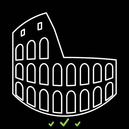 Coliseum in white icon . Flat style