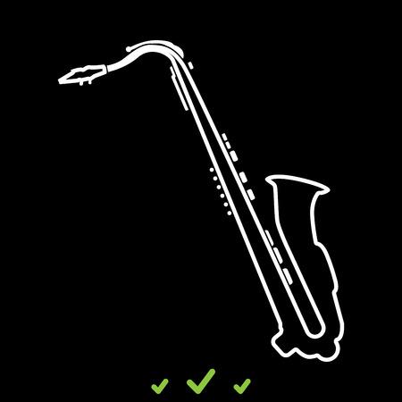 Saxophone it is white icon . Flat style Illustration