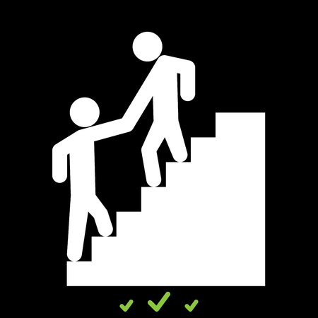 Man helping climb other man it is white icon . Flat style Illustration