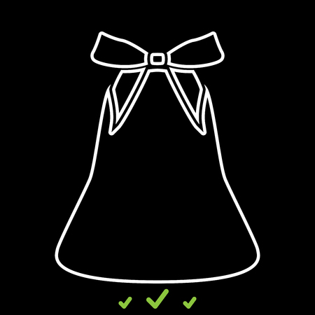 Bell with bow ribbon it is white icon . Flat style