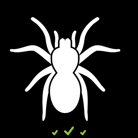 Spider or tarantula it is white icon . Flat style