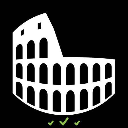 Coliseum it is white icon . Flat style Illustration