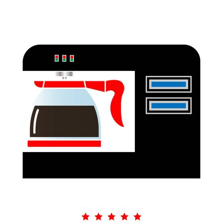 Coffeemaker, coffee machine icon . It is flat style