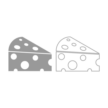 Piece cheese icon. It is grey set .