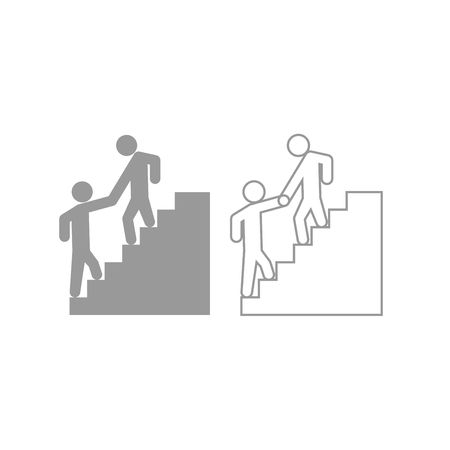 Man helping climb other man icon. It is grey set .