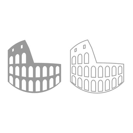 Coliseum icon. It is grey set .