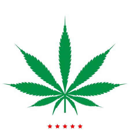 Cannabis (marijuana) leaf icon . It is flat style