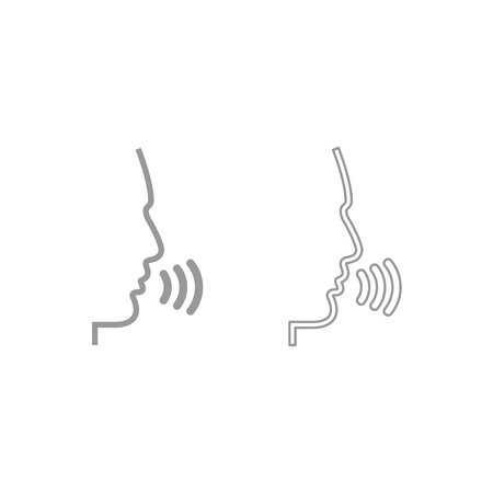 Head speaking man icon. It is grey set . Ilustração