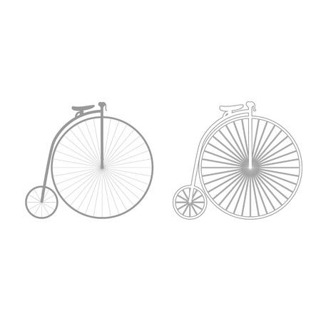 Retro bicycle icon. It is grey set .