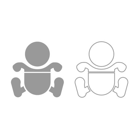 Toddler boy with diapers icon. It is grey set .
