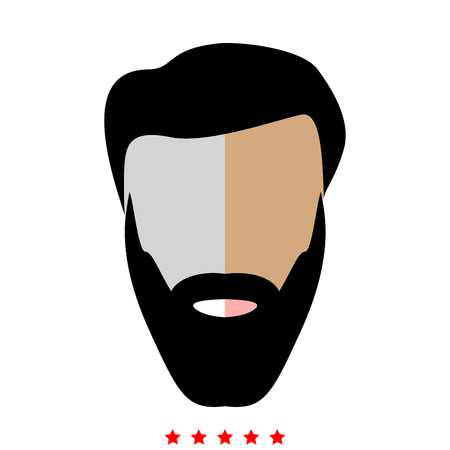 Head with beard and hair icon . It is flat style Ilustrace