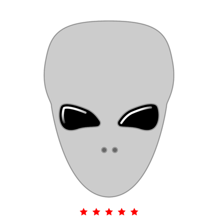 Extraterrestrial alien face or head icon . It is flat style Illustration