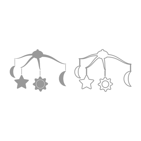 360 degrees rotating hanging rattles baby  icon. It is grey set .
