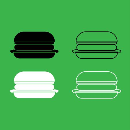 Burger icon . Black and white color set .