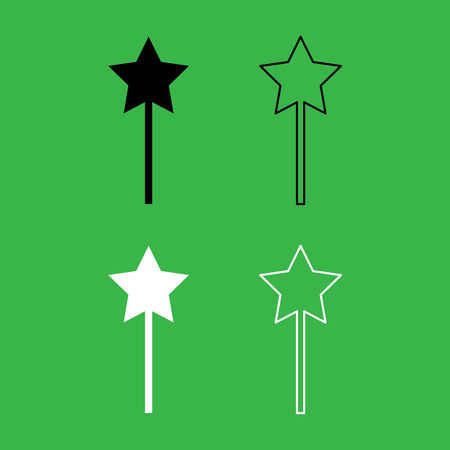 Magic wand icon . Black and white color set .