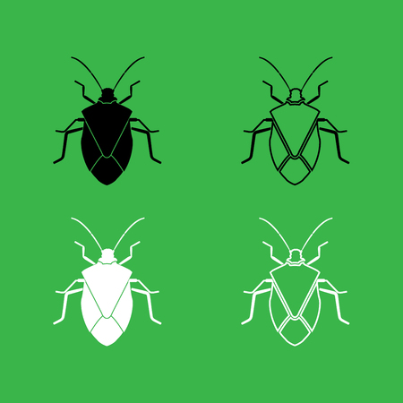 Bug icon . Black and white color set .
