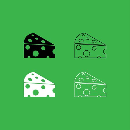 Piece cheese icon . Black and white color set . 向量圖像