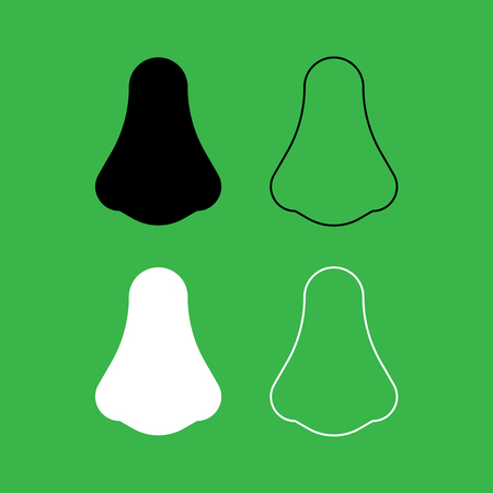 Nose icon . Black and white color set .