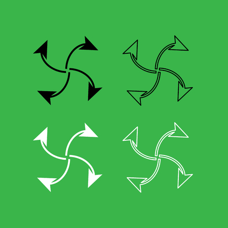 Four arrows in loop from  center icon . Black and white color set .