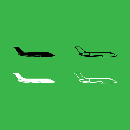 Private airplane icon black and white color set .