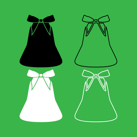 Bell with bow ribbon icon black and white color set.