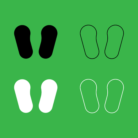 Baby footprint in footwear icon black and white color set.