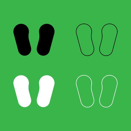 Huella de bebé en conjunto de color de icono blanco y negro de calzado. Foto de archivo - 90526747