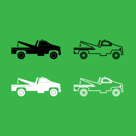 Breakdown truck icon black and white color set.