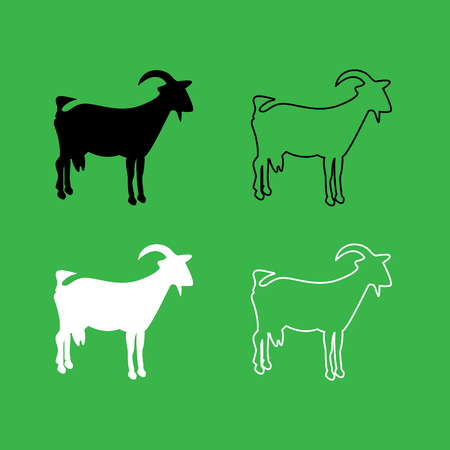 Goat icon . Black and white color set .