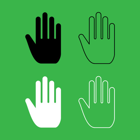 Open human hand icon black and white color set.