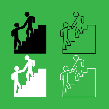 Man helping climb other man icon . Black and white color set .