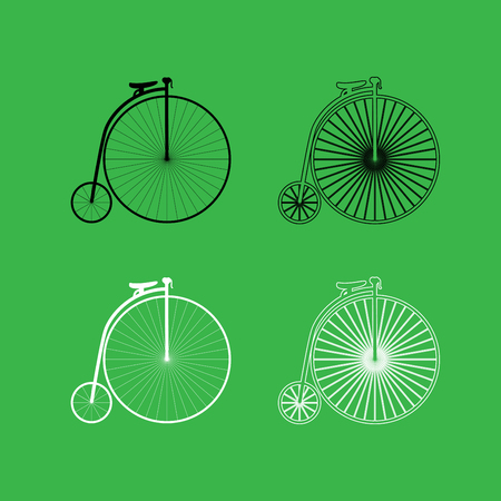 Retro bicycle icon . Black and white color set .