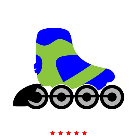 Roller skate icon . Different color . Simple style . Illustration
