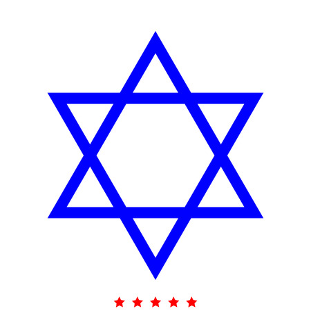 Jewish star of David icon . Different color . Simple style .