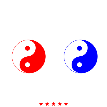 Yin Yang symbol icon . Different color . Simple style .