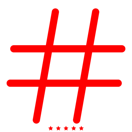 Hashtag icon . Different color . Simple style .