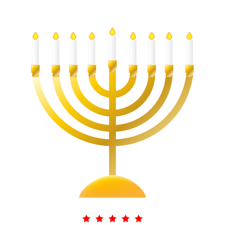 Menorah for Hanukkah icon . Different color . Simple style .