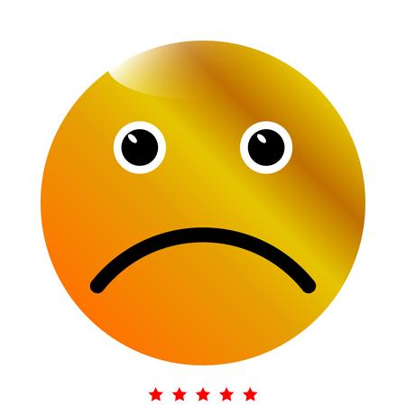 Sad emoticon icon . Different color . Simple style .