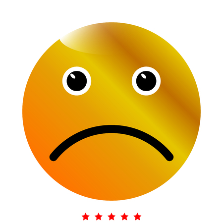 Sad emoticon icon . Different color . Simple style .