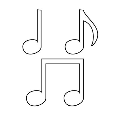 Music note set icon flat illustration.