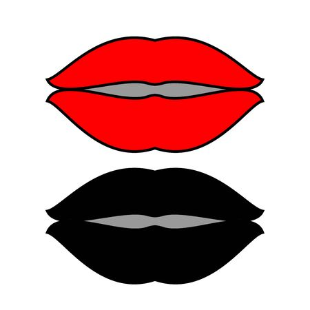 Lips set icon red and black flat style.
