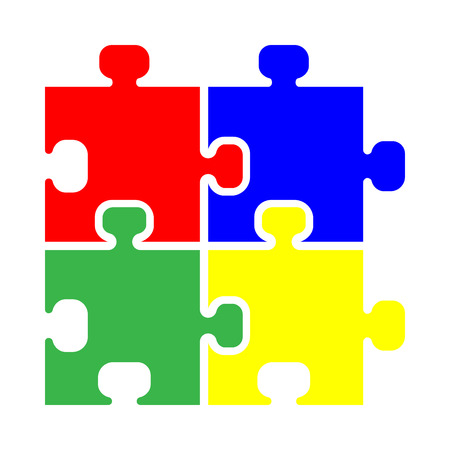 Puzzle icon Red blue green yellow Flat style. Illustration