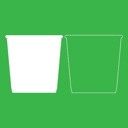 Dustbin or trash basket icon illustration white color fill and outline. Illustration