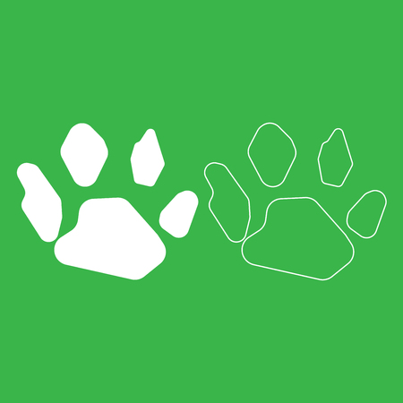 Animal footprint icon illustration white color fill and outline.