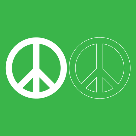 World peace sign symbol icon illustration white color fill and outline.