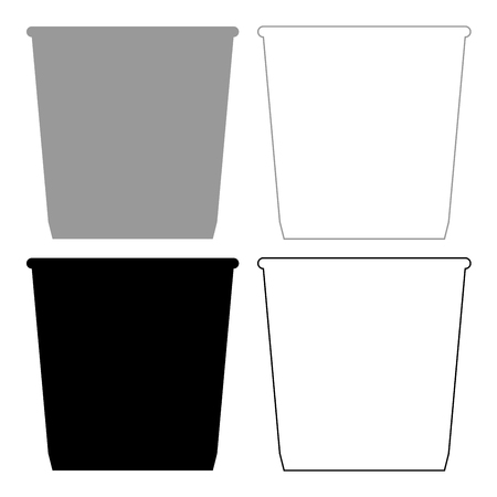 Dustbin or trash basket icon. Illustration grey and black color fill and outline. Illustration