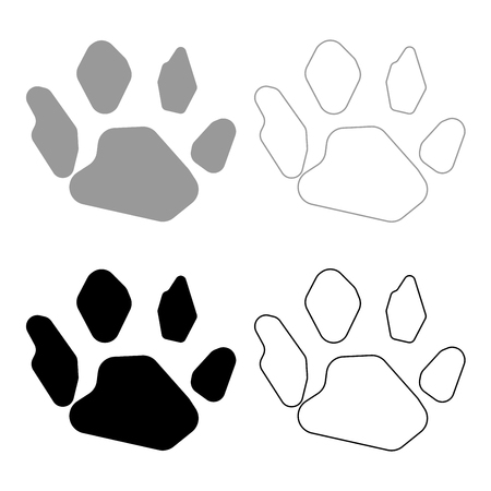 Animal footprint icon. Illustration grey and black color fill and outline.