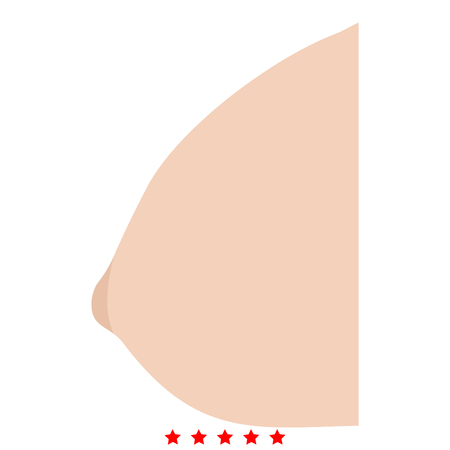 Female breast icon Illustration color fill simple style Иллюстрация