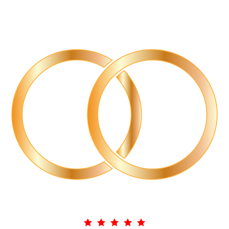 Wedding rings icon Illustration color fill simple style